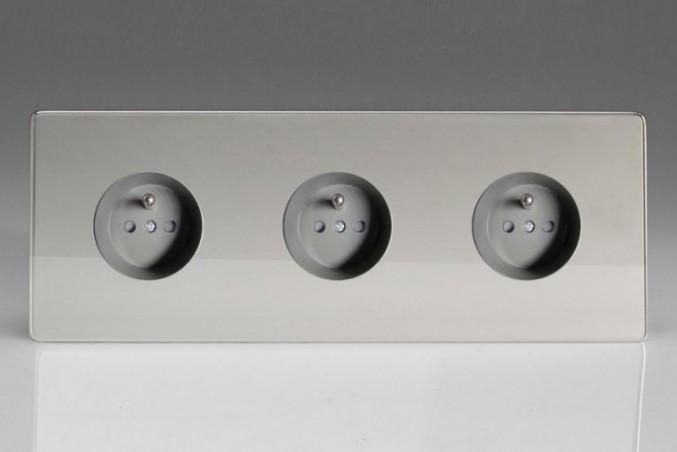 Triple Prise de Courant Design Chrome Miroir