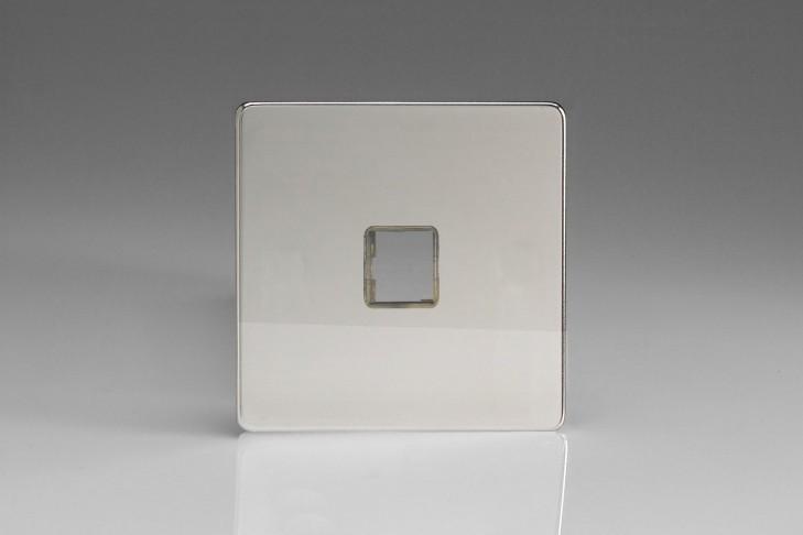 Plaque Data 1 Port pour Prise RJ12, RJ45 ou USB Design Chrome miroir
