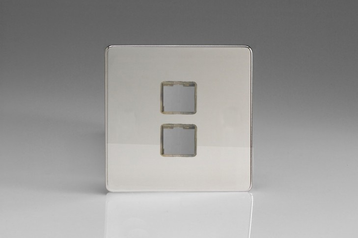 Plaque Data 2 Ports pour Prise RJ12, RJ45 ou USB Design Chrome miroir