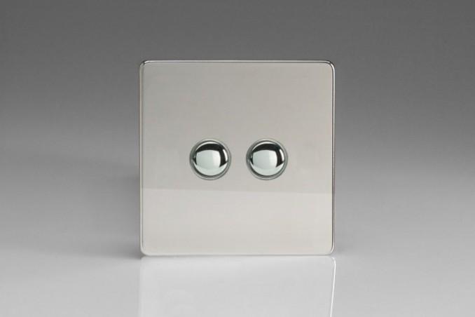 Double Interrupteur Bouton Poussoir Va et Vient + Poussoir Télérupteur Chrome Miroir