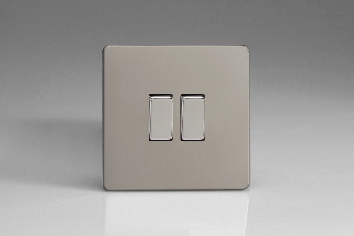 "Double Interrupteur Design Va et Vient à Bascule ""Rocker Switch"" Satin"