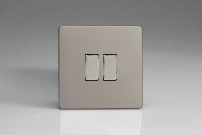 """Double Interrupteur Design Va et Vient à Bascule """"Rocker Switch"""" Satin"""