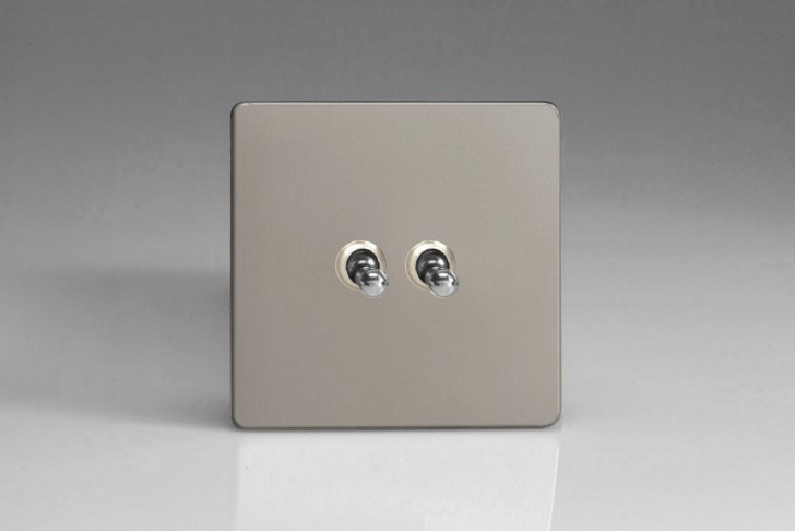 "Double Interrupteur Design Va et Vient à Bascule ""Toggle Switch"" Satin"