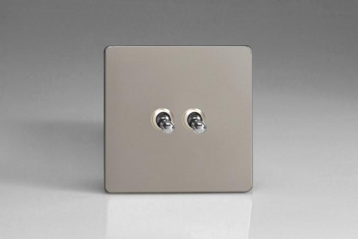 """Double Interrupteur Design Va et Vient à Bascule """"Toggle Switch"""" Satin"""