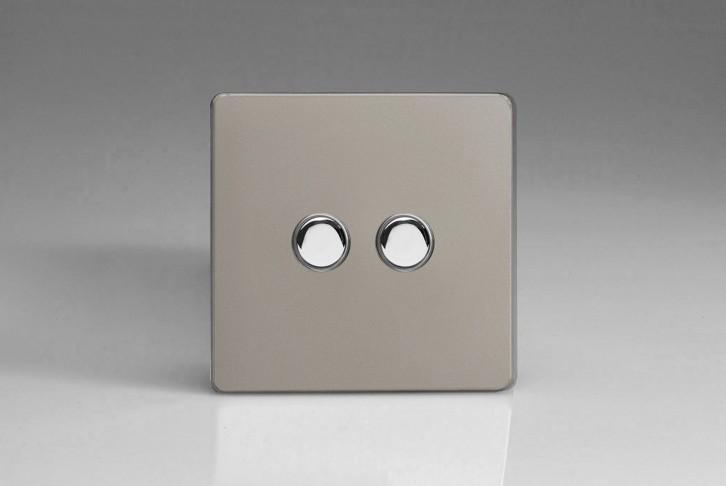 Double Interrupteur Bouton Poussoir Design Va et Vient Satin