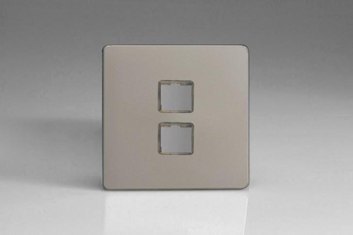 Plaque Data 2 Ports pour Prise RJ12, RJ45 ou USB Design Satin