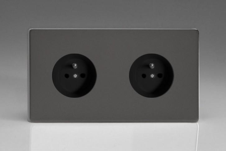Double Prise de Courant Design Étain