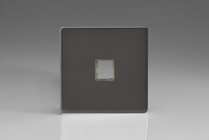 Plaque Data 1 Port pour Prise RJ12, RJ45 ou USB Design Etain