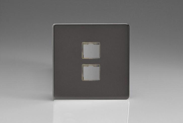 Plaque Data 2 Ports pour Prise RJ12, RJ45 ou USB Design Etain