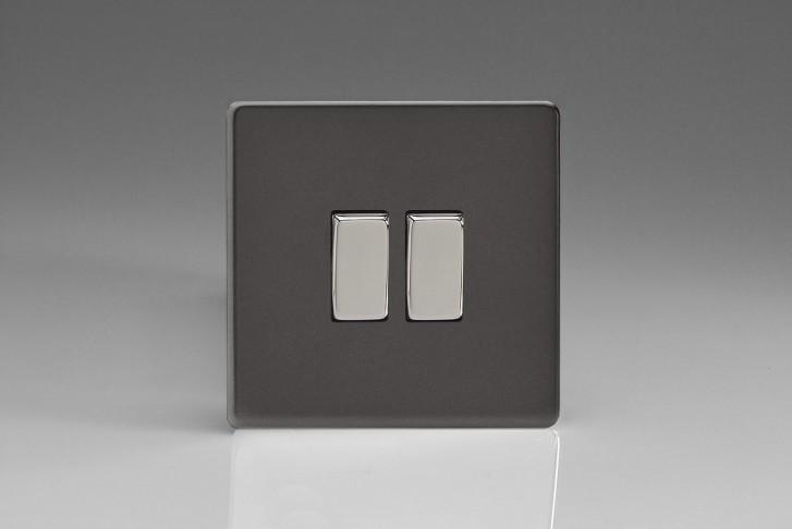 """Double Interrupteur Design Va et Vient à Bascule """"Rocker Switch"""" Étain"""
