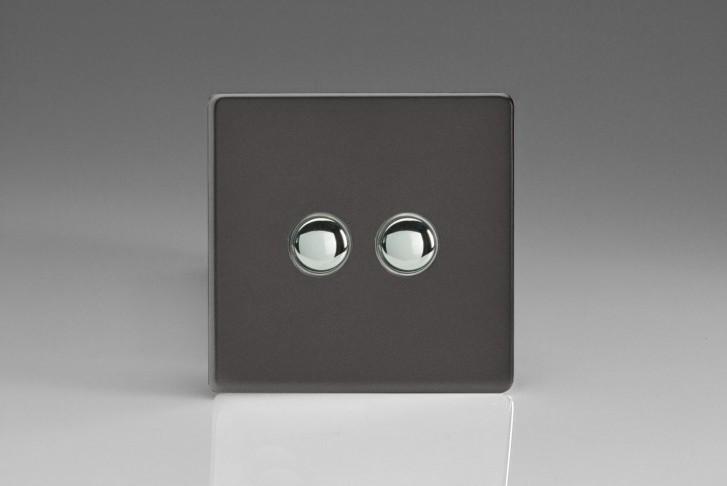 Double Interrupteur Bouton Poussoir Design Va et Vient Étain