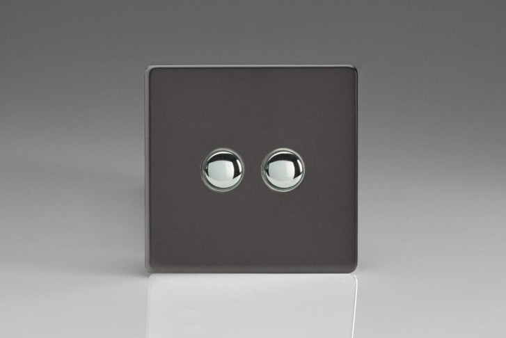 Double Interrupteur Bouton Poussoir Va et Vient + Poussoir Télérupteur Etain