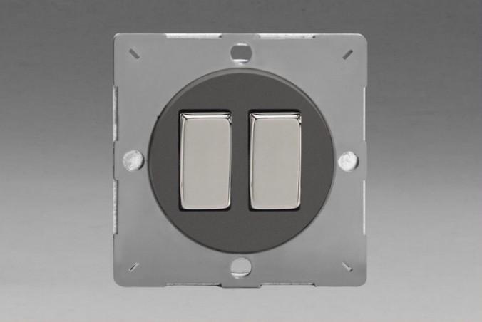 Module Double Interrupteur V&V Rocker Switch Etain