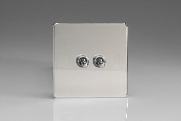 """Double Interrupteur Design Va et Vient à Levier """"Toggle Switch"""" (goutte d'eau) Chrome Miroir"""