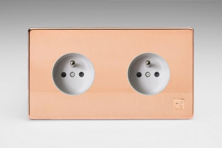 Double Prise de Courant Design Cuivre Brut Antimicrobien