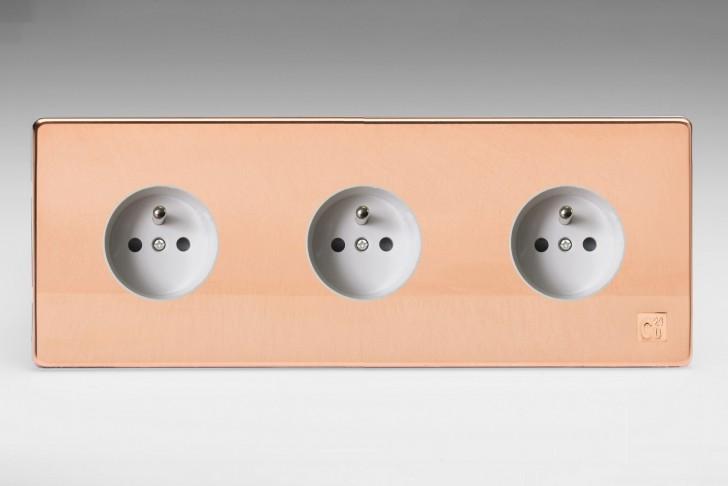Triple Prise de Courant Design Cuivre Brut Antimicrobien