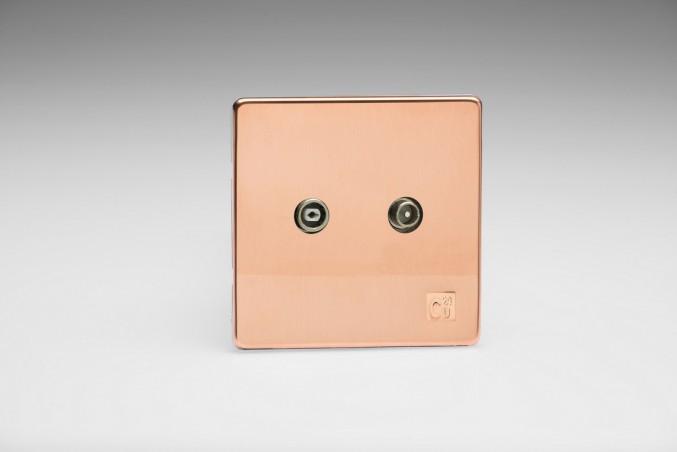 Prise Antenne / TV Design Cuivre Brut Antimicrobien