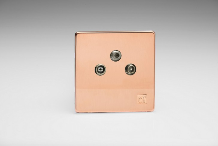 Prise Antenne / TV / SAT Design Cuivre Brut Antimicrobien