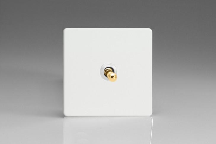 Interrupteur Design V&V Toggle Switch Blanc Mat Bouton Doré