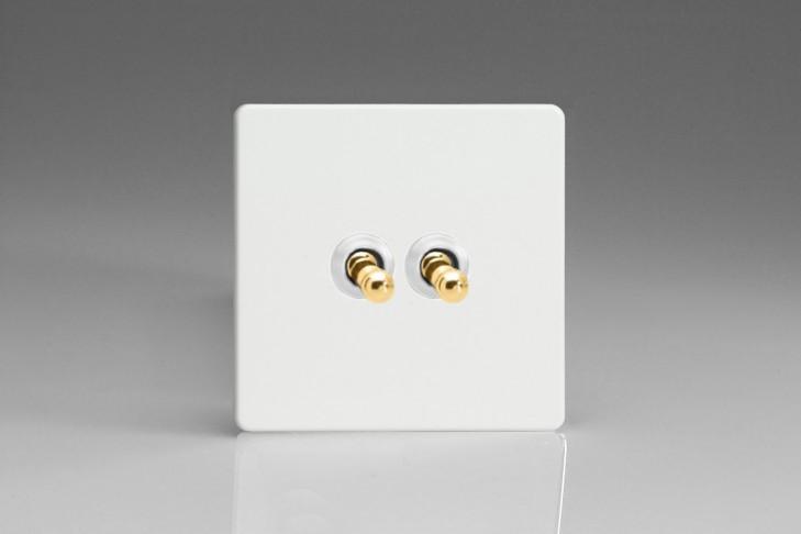 Double Interrupteur V&V Toggle Switch Blanc Mat Bouton Doré