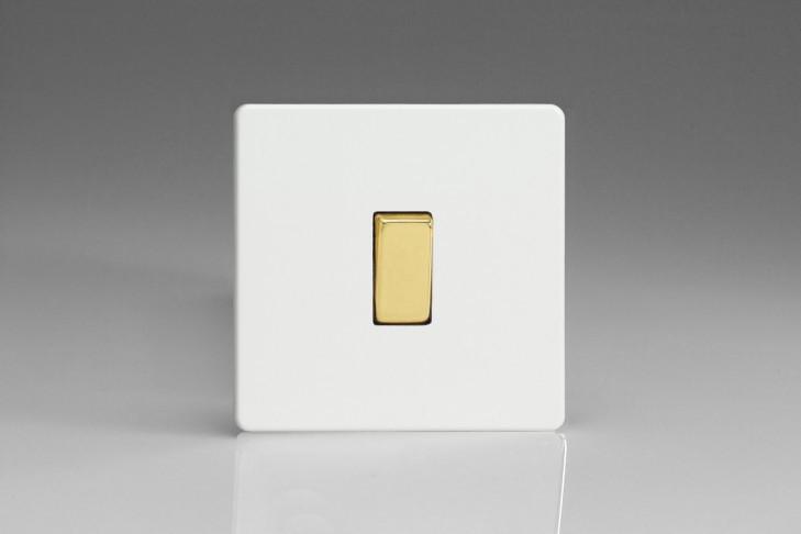 Interrupteur Design V&V Rocker Switch Blanc Mat Bouton Doré