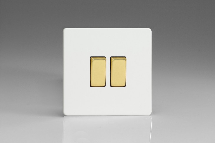 Double Interrupteur V&V Rocker Switch Blanc Mat Bouton Doré