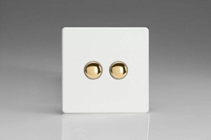 Double Interrupteur V&V Push Switch Blanc Mat Bouton Doré