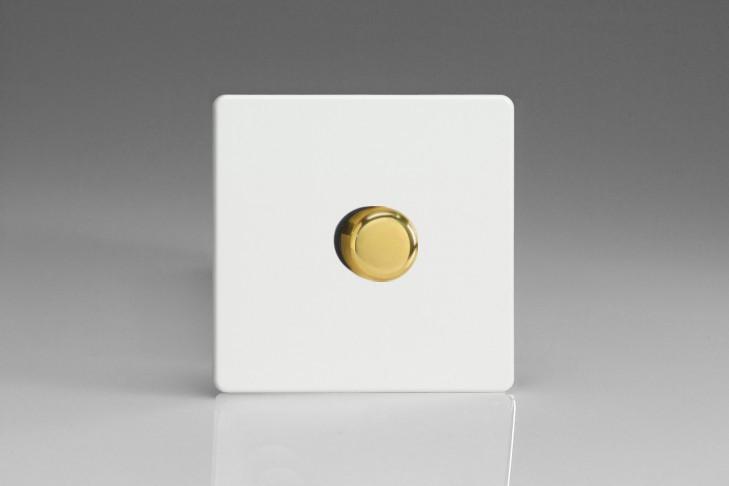 Variateur Halogene Design Blanc Mat Bouton Doré