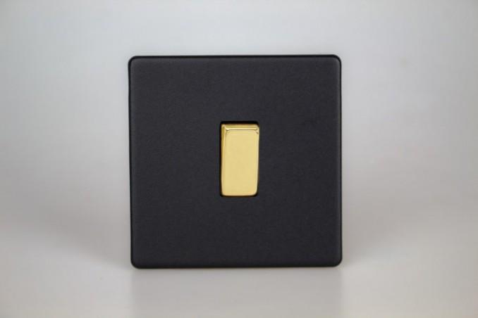 Interrupteur Design V&V Rocker Switch Noir Mat Bouton Doré