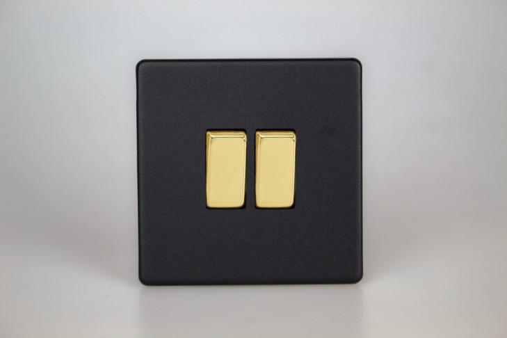 Double Interrupteur V&V Rocker Switch Noir Mat Bouton Doré