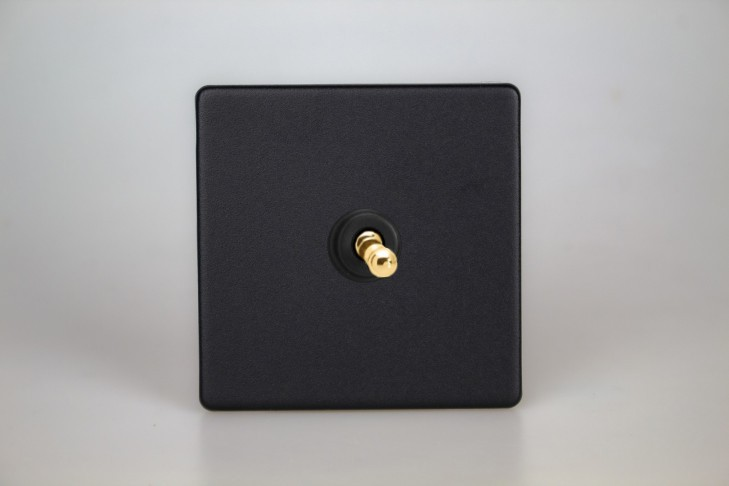 Interrupteur Design V&V Toggle Switch Noir Mat Bouton Doré