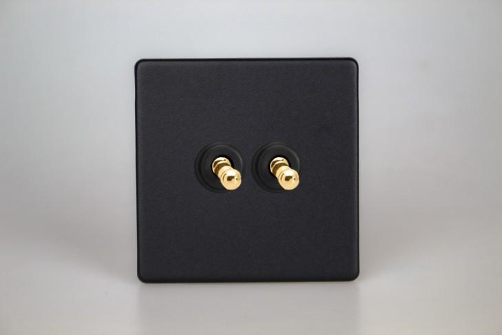 Double Interrupteur V&V Toggle Switch Noir Mat Bouton Doré