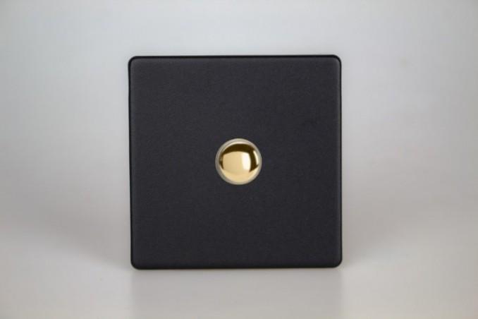 Interrupteur V&V Push Switch Noir Mat Bouton Doré