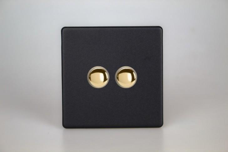 Double Interrupteur V&V Push Switch Noir Mat Bouton Doré