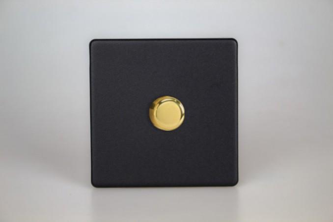 Variateur LED Design Noir Mat Bouton Doré